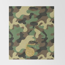 CAMO & GOLD GLITTER BOMB DIGGITY Throw Blanket