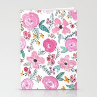 sayings Stationery Cards featuring Pink Watercolor Floral Print  by Jenna Kutcher