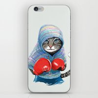 boxing iPhone & iPod Skins featuring Boxing Cat by Tummeow