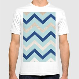 Marine zig zag - golden gradient turquoise T-shirt