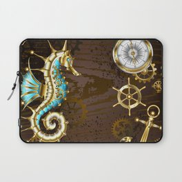 Wooden Background with Mechanical Seahorse ( Steampunk ) Laptop Sleeve
