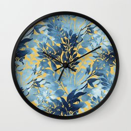 Summer Tropical Metallic Blue & Yellow Foliage Design Wall Clock