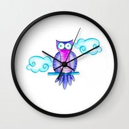 Cute purple owl Wall Clock