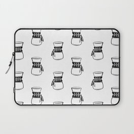 Chemex coffee maker black and white linocut minimal kitchen foodie pattern Laptop Sleeve