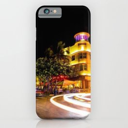 Art Deco Cardozo Hotel South Beach, Miami Night Scene Portrait by Jeanpaul Ferro iPhone Case