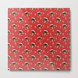 Cool Santa Bear with sunglasses and Christmas gifts pattern Metal Print