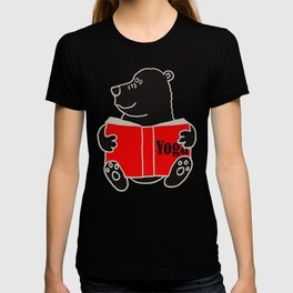 Black Bear Reading Yoga Book T-shirt