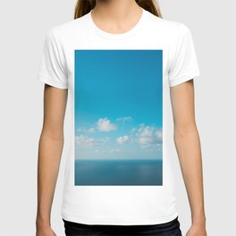 blue sky above ocean panorama with white clouds T-shirt