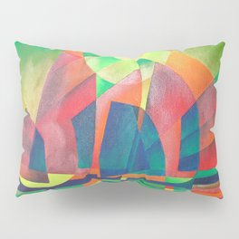 Sea of Green With Cubist Abstract Junks Pillow Sham
