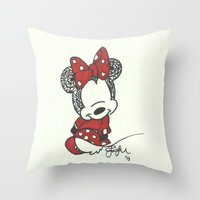 minnie mouse Throw Pillows featuring Minnie Mouse Zen Tangle by Jadie Miller