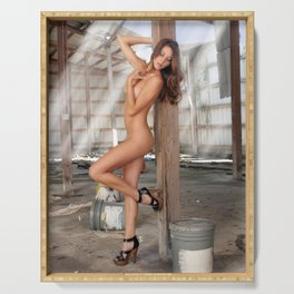 Beautiful Nude Brunette in an Abandoned Warehouse (11) Serving Tray