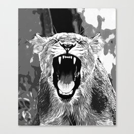 african lioness safari cat v2 vector art black white Canvas Print