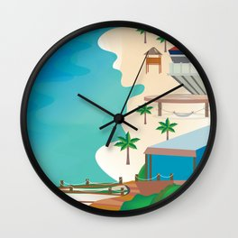 Cancun, Mexico - Skyline Illustration by Loose Petals Wall Clock