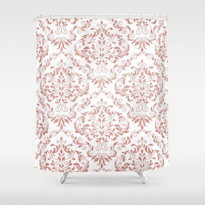 Rose Gold Glitter and White Damask Shower Curtain by lisaguenraymond ...