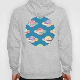 Planets with Rings Pattern Hoody