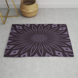 Artisitic Floral Kaleidoscope Pattern Purple Shades Rug
