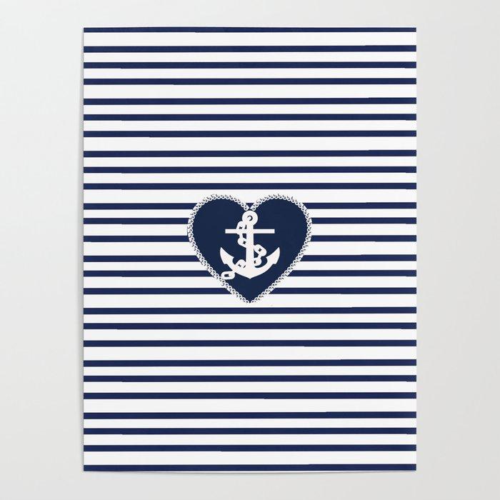 Modern navy blue white heart anchor nautical stripes Poster