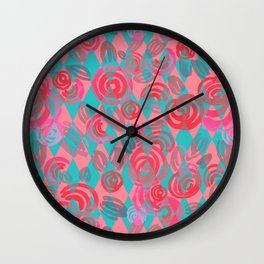 Argyle Pattern with pink abstract flowers Wall Clock