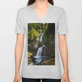Diesbach Creek Waterfall Unisex V-Neck