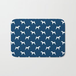 Airedale Terrier navy and white minimal dog pattern dog silhouette pattern Bath Mat