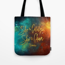 She is catalyst. She is Chaos. Illuminae Tote Bag