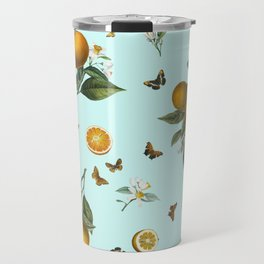 Oranges and Butterflies on Mint Travel Mug