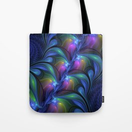 Colorful Luminous Abstract Blue Pink Green Fractal Tote Bag