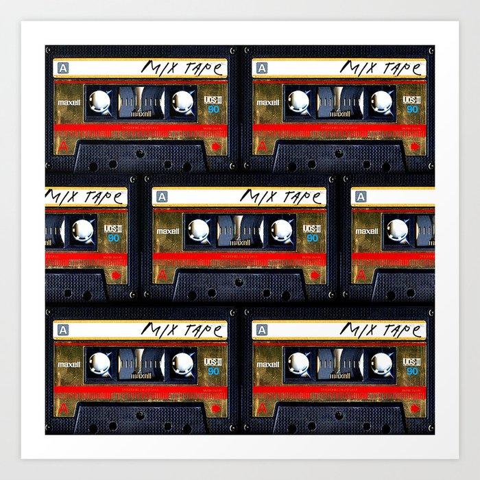 Retro cassette mix tape Art Print