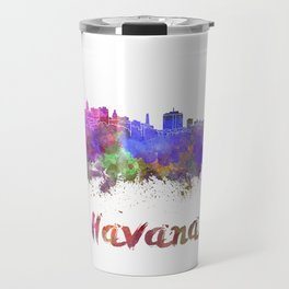 Havana skyline in watercolor Travel Mug