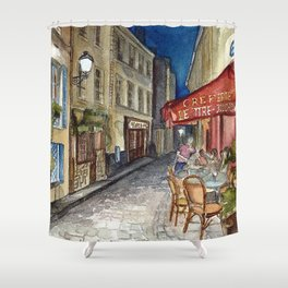 Postcards from Paris - Montmartre by Night: Le Tire-Bouchon Creperie Shower Curtain