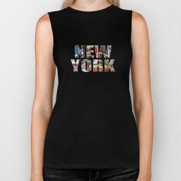 New York (photo type on black) Biker Tank