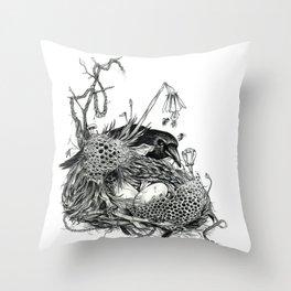 Mother Crow Throw Pillow