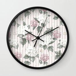 Bohemian pastel pink green floral stripes pattern Wall Clock