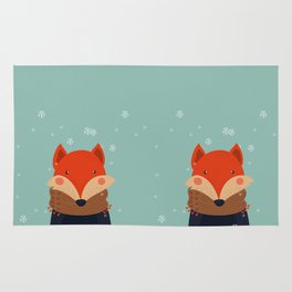 Fox Under Snow in the Christmas Time. Rug