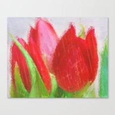 Tulips in the rain Canvas Print