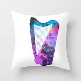 Harp art #harp Throw Pillow