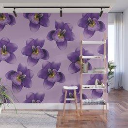 Purple Flowers Pattern Wall Mural