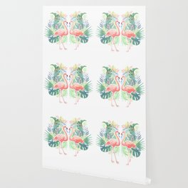 Lovely Fairy Tale For Two Flamingo Watercolor Illustration Wallpaper