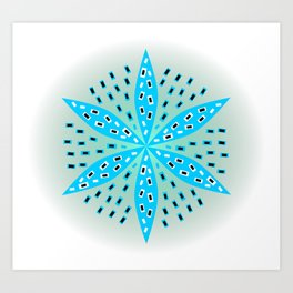 Floral rectangles in blue Art Print