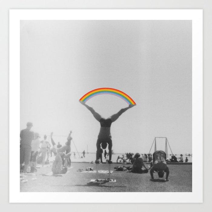 Straddle Rainbow Handstand Art Print
