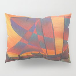 Red Sails in the Sunset Cubist Junk Abstract Pillow Sham