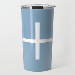 white cross on placid blue background Travel Mug