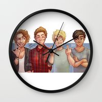 5 seconds of summer Wall Clocks featuring 5 Seconds of Summer by gabitozati