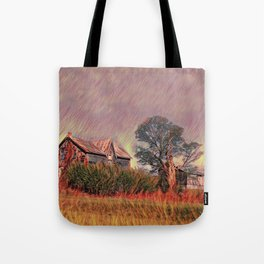 Grass fire at old farm Tote Bag