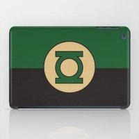 dc comics iPad Cases featuring Green Lantern Logo Minimalist Art Print DC Comics by The Retro Inc