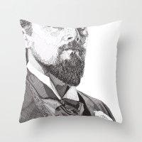 leonardo dicaprio Throw Pillows featuring Leonardo by Rik Reimert