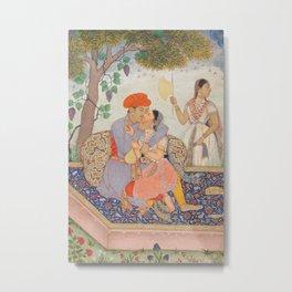 Lovers Embracing Indian Watercolor, 1630 Metal Print