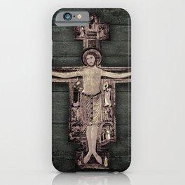 Medieval Style Jesus Christ on Cross Sculpture Artwork iPhone Case