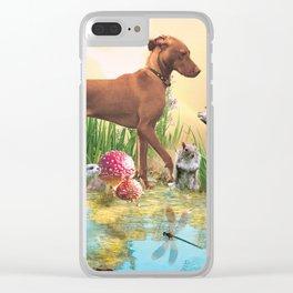 Vizsla with Wildlife Clear iPhone Case