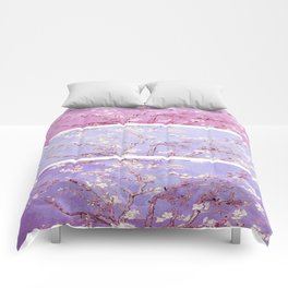 Vincent Van Gogh : Almond Blossoms Lavender Panel Art Comforters